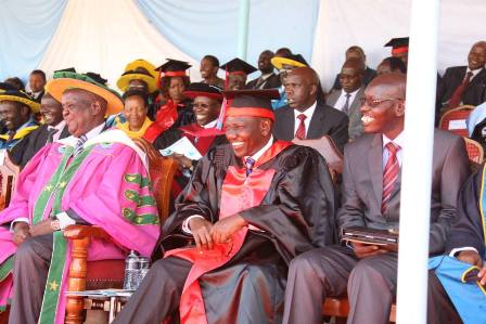 His Excellency, The Deputy President follows presiding the 1st Graduation of UoK