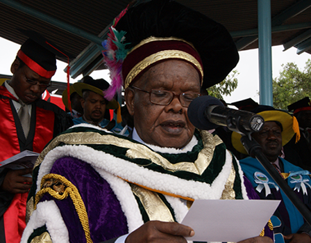 Prof.B.A.Ogot,The Immediate Former Chancellor at UoK Conferring Degrees in Past Graduation Ceremony.