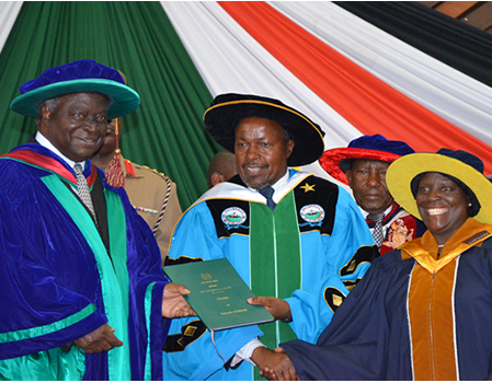 Retired President,Hon.Mwai Kibaki,UoK Chair,Florence Nyamu & Ag UoK VC Prof.W.Kipngeno during  Charter Award Ceremony At KICC.